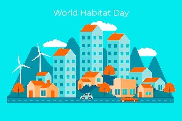 Wereldhabitatdag in plat ontwerp Gratis Vector