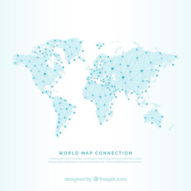 Wereldkaart achtergrond met lijnen en punten Gratis Vector