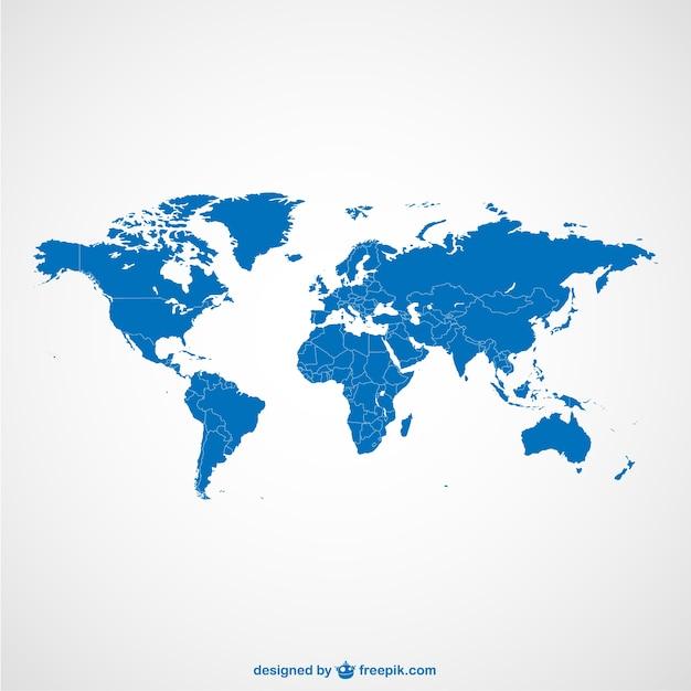 Wereldkaart blauw sjabloon Gratis Vector