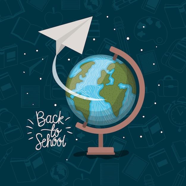 Wereldkaart en benodigdheden terug naar school Gratis Vector