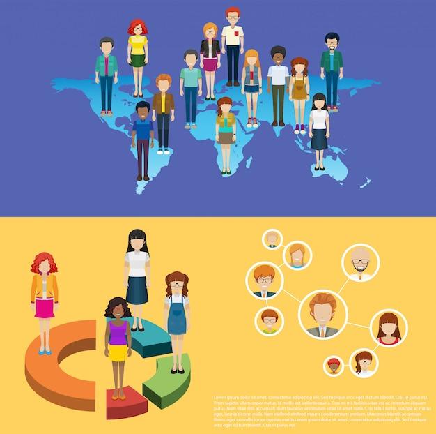 Wereldkaart en infographic mensen Gratis Vector