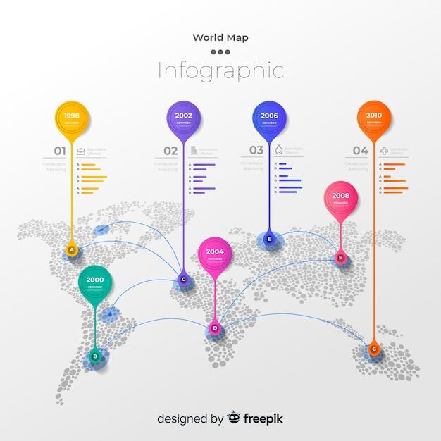 Wereldkaart infographic met kleurrijke markeringen Gratis Vector