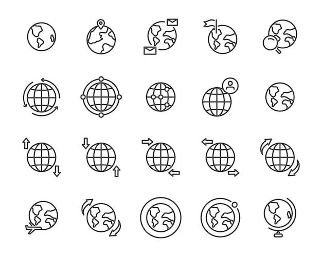 Wereldkaart lijn pictogramserie Premium Vector