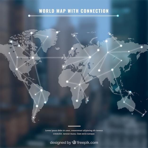 Wereldkaart met conection en blauwe achtergrond Gratis Vector