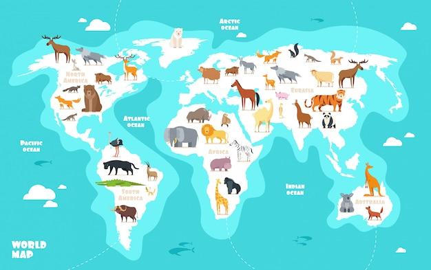 Wereldkaart met dieren. aarde ontdekking grappige kinderen aardrijkskunde vectorillustratie Premium Vector