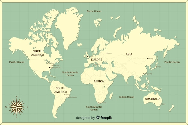 Wereldkaart met opgegeven continenten Gratis Vector