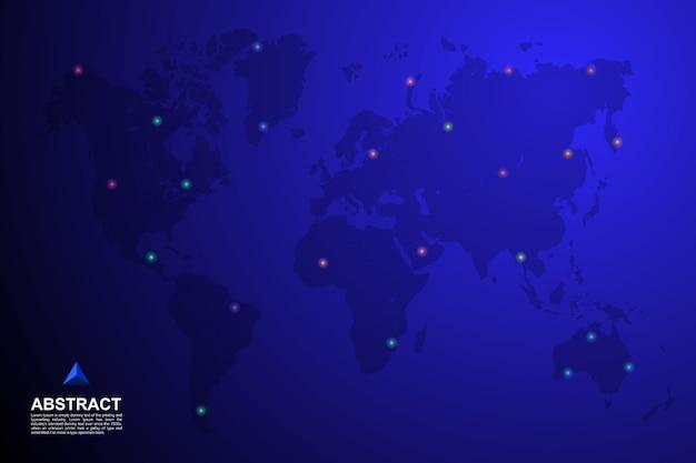 Wereldkaart met pin op locatie achtergrond Premium Vector