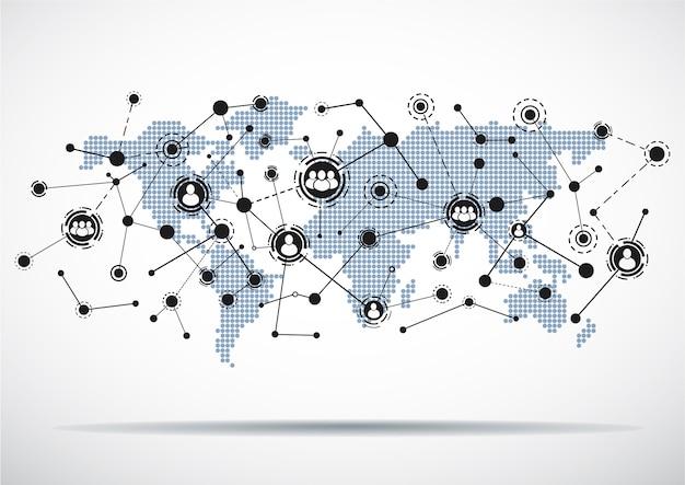Wereldkaart met verbonden gebruikerspictogrammen. Premium Vector