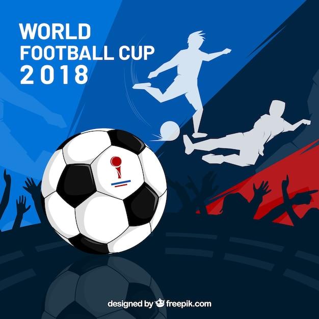 Wereldkampioenschap voetbal achtergrond met spelers Gratis Vector
