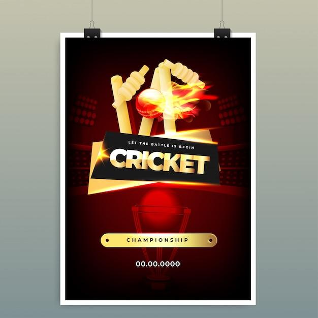 Wereldkampioenschappen cricket kampioenschap. Premium Vector