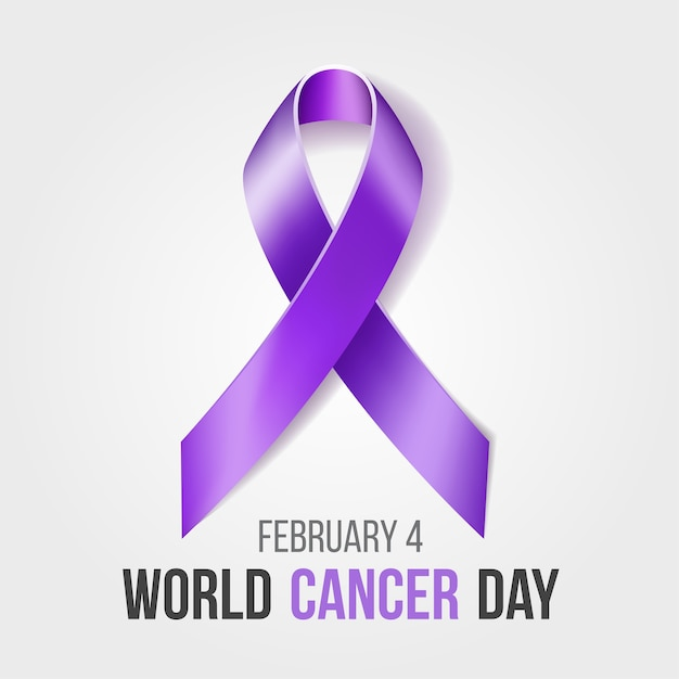 Wereldkankerdag met lint, februari-bewustmakingsmaand campagne achtergrond met paars lintsymbool Premium Vector