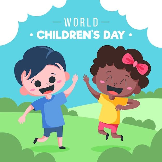 Wereldkinderdag geïllustreerd ontwerp Gratis Vector