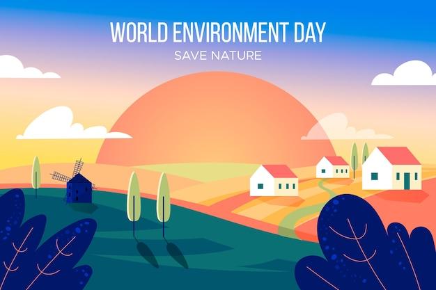 Wereldmilieudag in plat ontwerp Gratis Vector