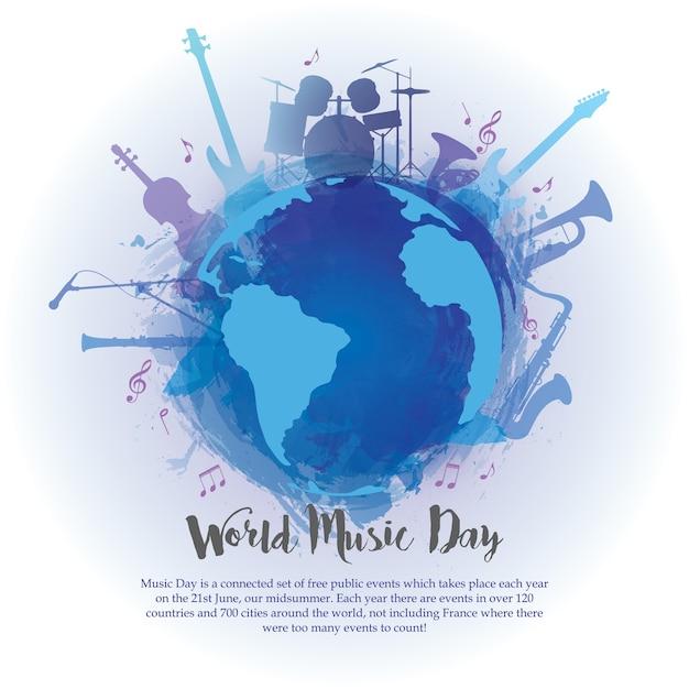 Wereldmuziekdag Premium Vector