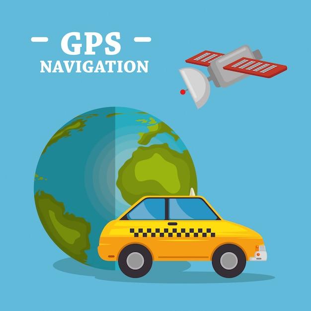 Wereldplaneet met gps navigatiepictogrammen Gratis Vector