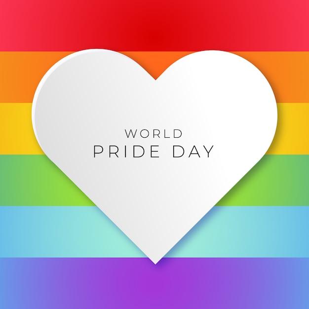Wereldpride-dag met trotsvlagachtergrond en wit hart Gratis Vector