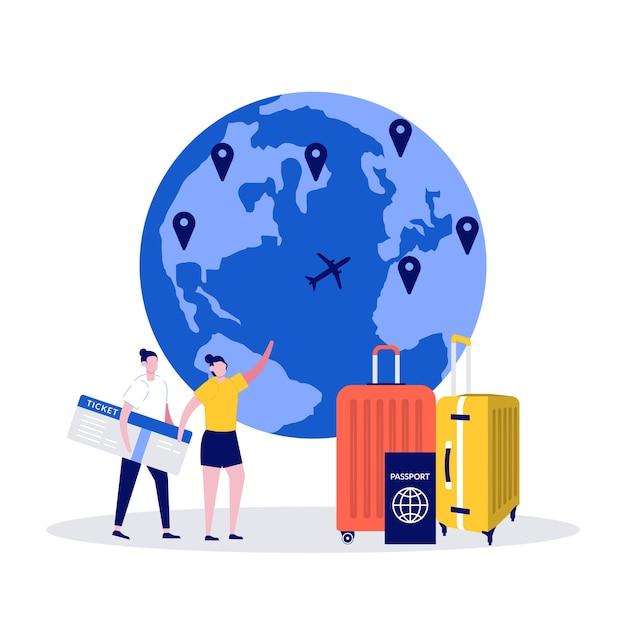 Wereldreizen, internationale reis, zomervakantieconcept met mensenkarakter. Premium Vector
