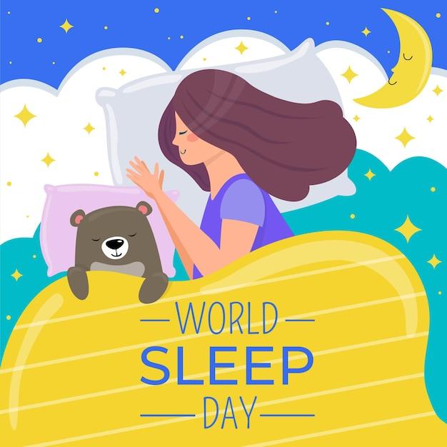 Wereldslaapdag illustratie met slapende vrouw slapen en beer Gratis Vector