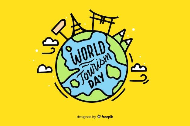 Wereldtoerisme dag belettering Gratis Vector