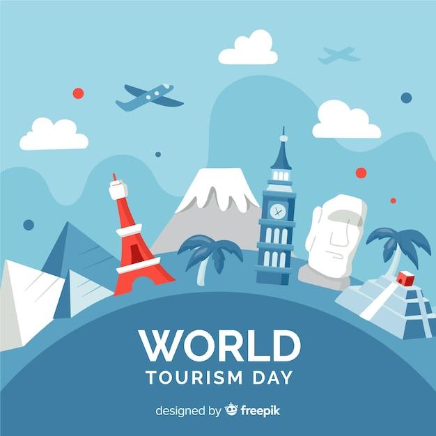 Wereldtoerisme dag evenement met bezienswaardigheden en transport Gratis Vector