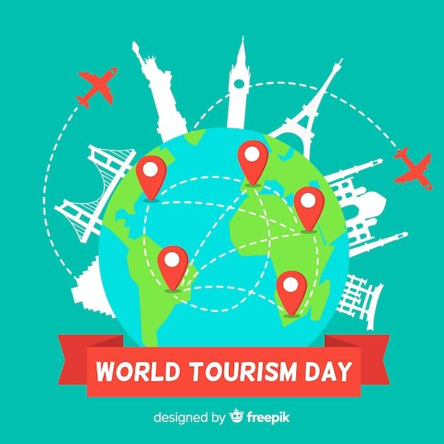 Wereldtoerisme dag evenement met transport Gratis Vector