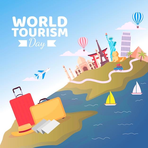 Wereldtoerisme dag viering plat ontwerp Gratis Vector