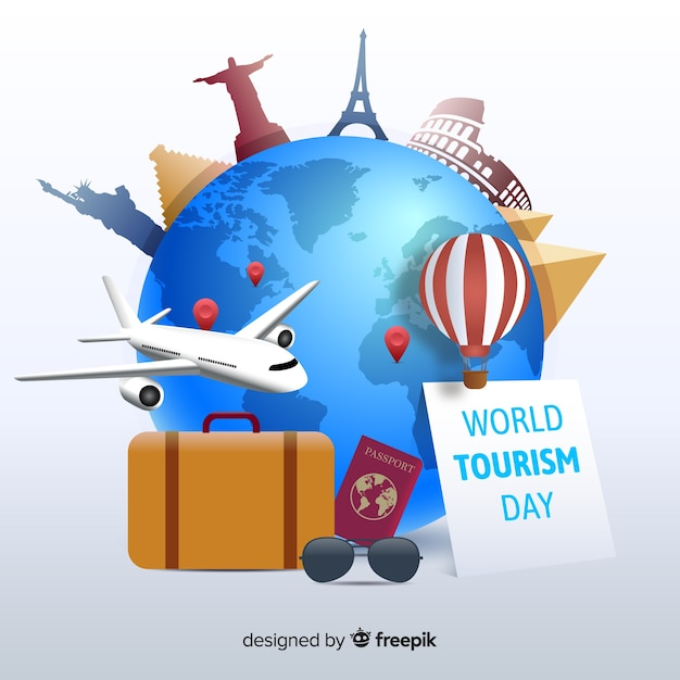 Wereldtoerismedag met plat ontwerp Gratis Vector