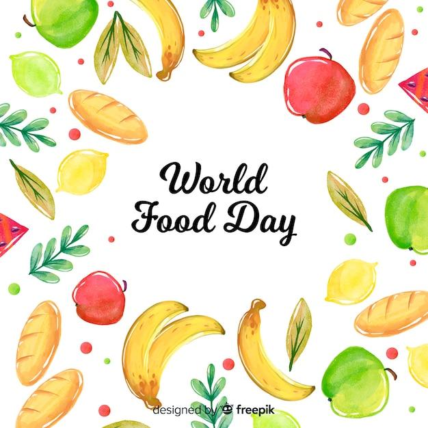 Wereldvoedsel dag concept met aquarel achtergrond Gratis Vector