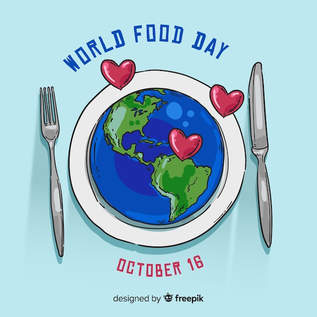 Wereldvoedsel dag concept met hand getrokken achtergrond Gratis Vector