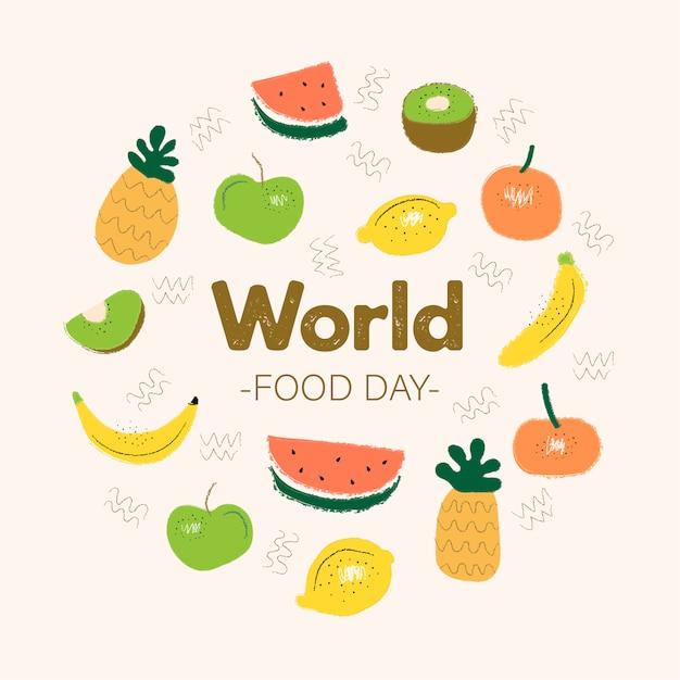 Wereldvoedsel dag concept met hand getrokken achtergrond Premium Vector