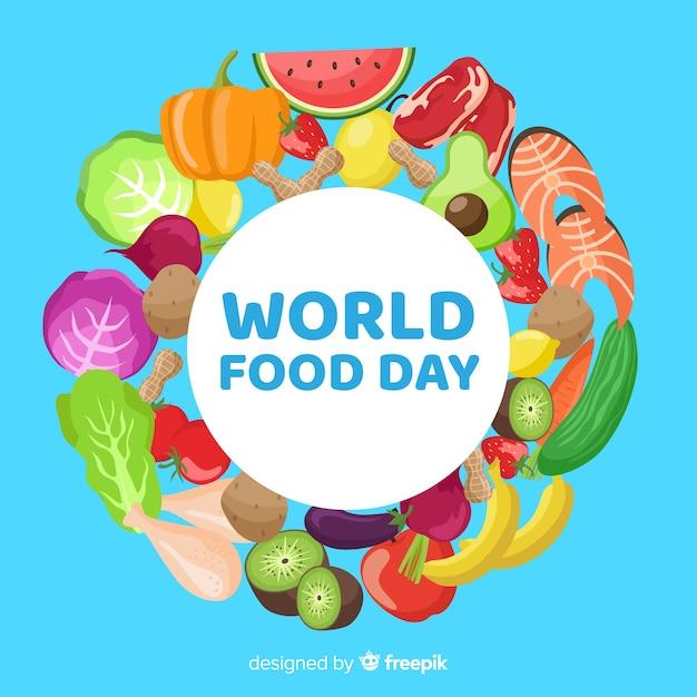 Wereldvoedsel dag concept met platte ontwerp achtergrond Gratis Vector