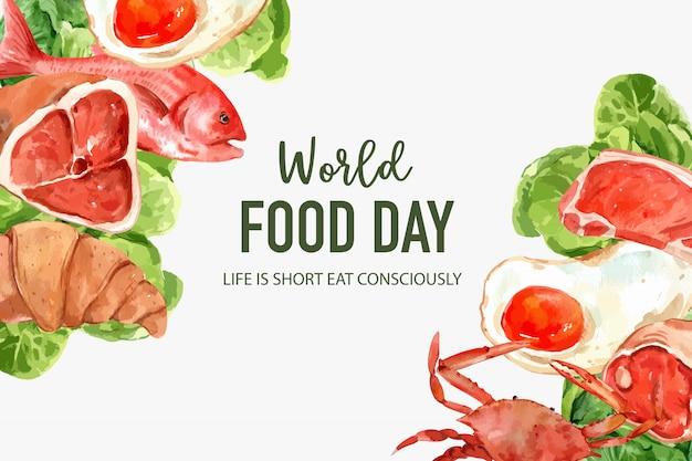 Wereldvoedsel dag frame met gebakken ei, krab, butterhead, croissant aquarel illustratie. Gratis Vector