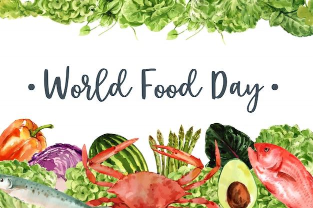 Wereldvoedsel dag frame met krab, vis, avocado, paprika aquarel illustratie. Gratis Vector