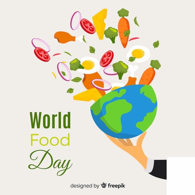 Wereldvoedsel dag plat ontwerp met planeet Gratis Vector