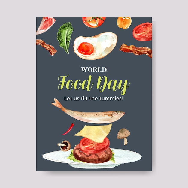 Wereldvoedsel dag poster met gebakken ei, vis, kaas, paddestoel aquarel illustratie. Gratis Vector