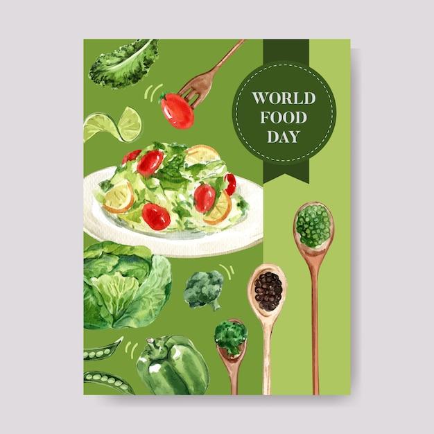 Wereldvoedsel dag poster met salade, tomaat, citroen, kool, bonen aquarel illustratie. Gratis Vector
