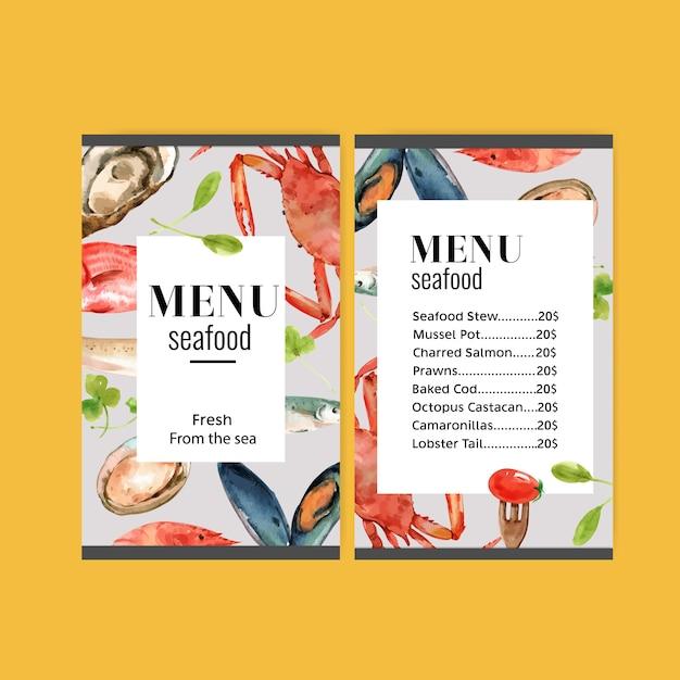 Wereldvoedsel dagmenu met krabvlees, vis, mossel, tomaat aquarel illustratie. Gratis Vector