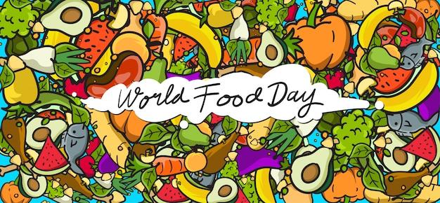 Wereldvoedseldag banner. verschillende voedingsmiddelen, fruit en groenten Premium Vector