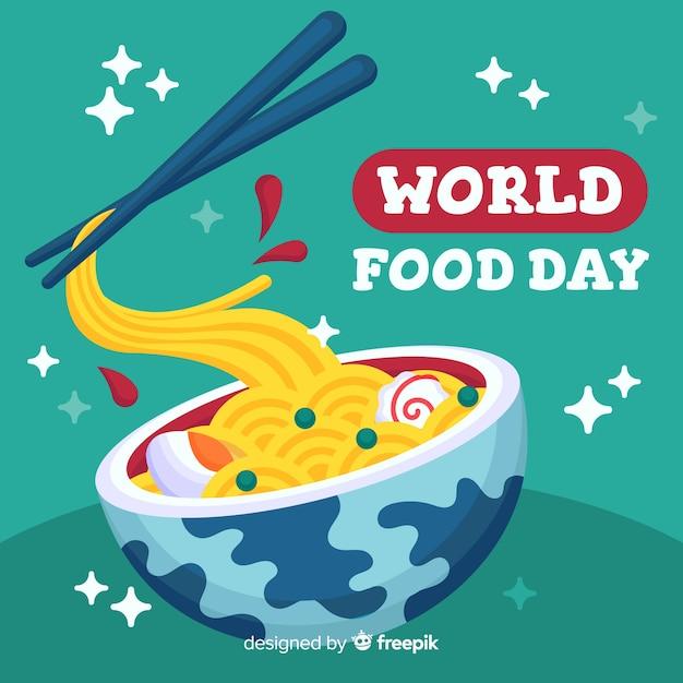 Wereldvoedseldag met pasta in plat ontwerp Gratis Vector