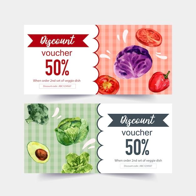 Wereldvoedseldagbon met broccoli, avocado, kool, tomatenwaterverfillustratie. Gratis Vector