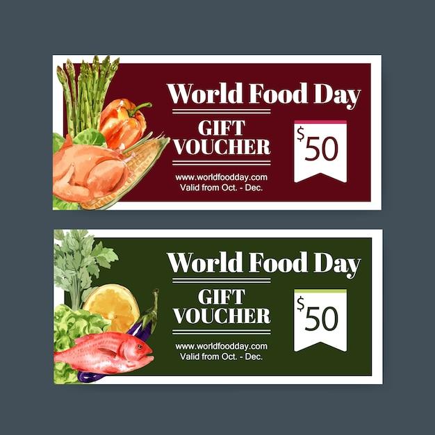 Wereldvoedseldagbon met kip, aubergine, vis, citroen aquarel illustratie. Gratis Vector