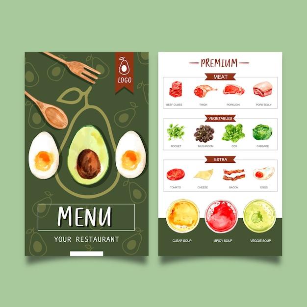 Wereldvoedseldagmenu met avocado, vlees, plantaardige waterverfillustraties. Gratis Vector