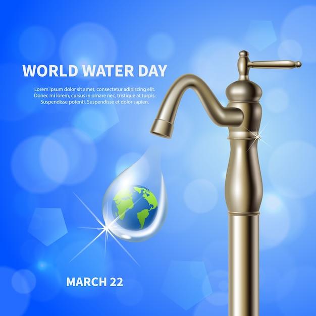 Wereldwaterdag reclame blauwe poster met waterkraan en groen aarde afbeelding in drop achtergrond realistisch Gratis Vector