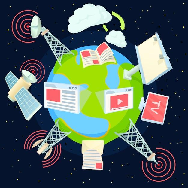 Wereldwijd concept adverteren Premium Vector