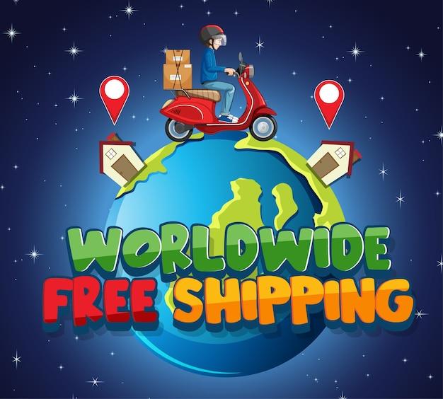 Wereldwijd gratis verzending logo met fietsman of koerier Gratis Vector