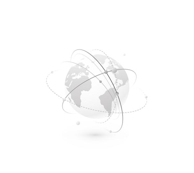 Wereldwijd netwerk wereld concept. technologiebol met continentenkaart en verbindingslijnen, punten en punt. digitaal gegevensplaneetontwerp in eenvoudige vlakke stijl, zwart-wit kleur. Gratis Vector