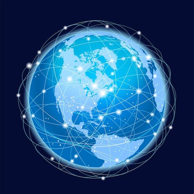 Wereldwijd netwerksysteemconcept Gratis Vector