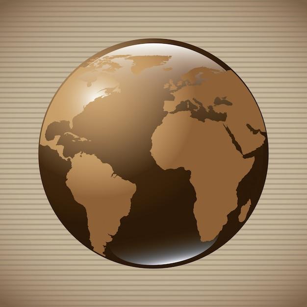 Wereldwijd ontwerp over beige achtergrond vectorillustratie Premium Vector