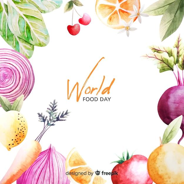 Wereldwijd voedsel dag frame aquarel ontwerp Gratis Vector