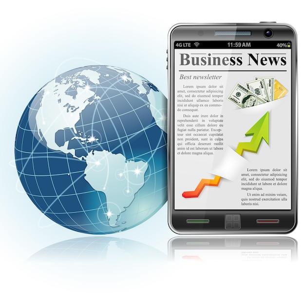 Wereldwijd zakendoen. nieuws op slimme telefoon Premium Vector